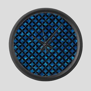 CIRCLES3 BLACK MARBLE & DEEP BLUE Large Wall Clock