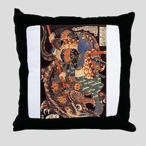 Miyamoto Musashi Fights Nue Throw Pillow