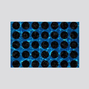 CIRCLES1 BLACK MARBLE & DEEP BLUE Rectangle Magnet