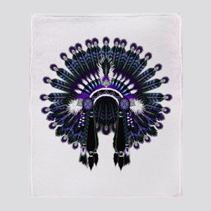 Native War Bonnet 04 Throw Blanket