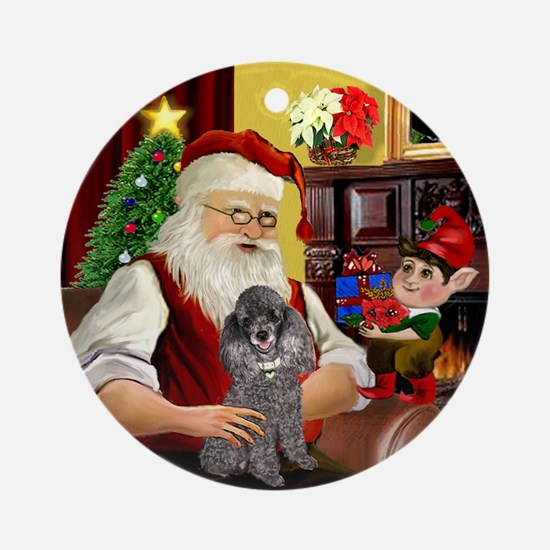 Santa's Silver Toy Poodle Ornament (Round)