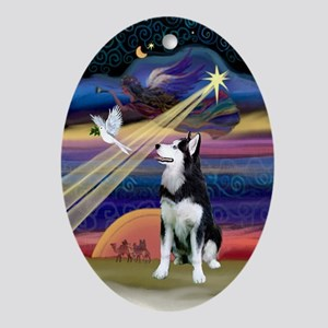 Xmas Star & Siberian Husky Oval Ornament