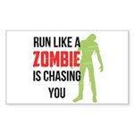 Run like zombie is chasing you Sticker (Rectangle)