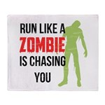 Run like zombie is chasing you Throw Blanket