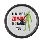 Run like zombie is chasing you Large Wall Clock