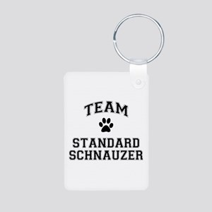 Team Standard Schnauzer Aluminum Photo Keychain