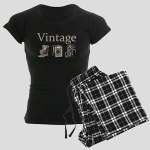 Vintage-Tan and Black Women's Dark Pajamas
