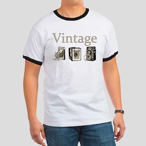 Vintage-Tan and Black Ringer T