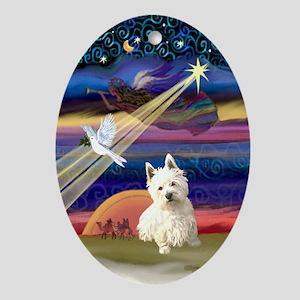 Xmas Star Westie Oval Ornament