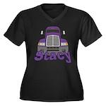 Trucker Stacy Women's Plus Size V-Neck Dark T-Shir