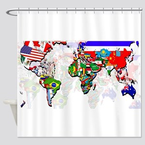 World Flags Map Shower Curtain