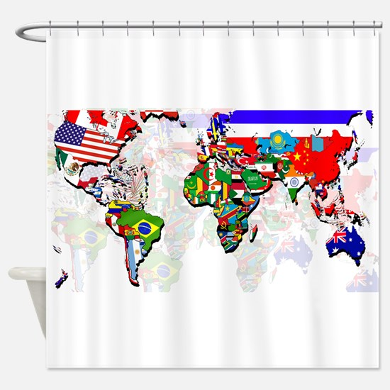 World Flags Map Shower Curtain