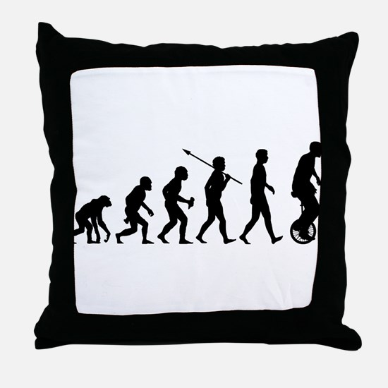 Unicycling Throw Pillow