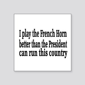 """French Horn Square Sticker 3"""" x 3"""""""
