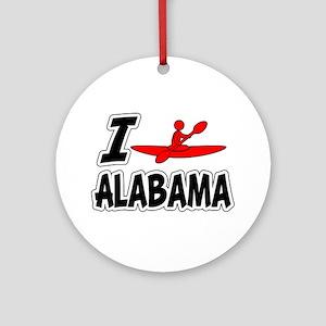 I Love Kayaking Alabama Ornament (Round)