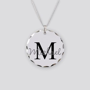 Customize Monogram Initials Necklace Circle Charm
