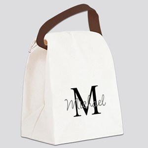 Customize Monogram Initials Canvas Lunch Bag