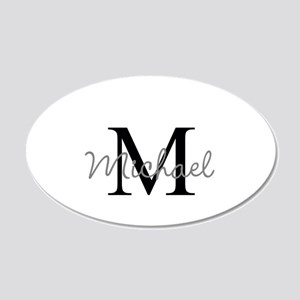 Customize Monogram Initials 20x12 Oval Wall Decal