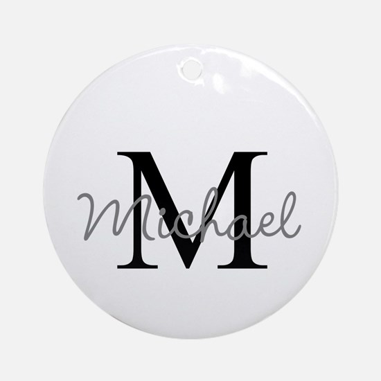 Customize Monogram Initials Round Ornament