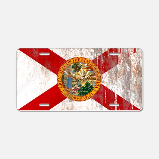 Florida Grunge Flag Aluminum License Plate