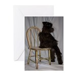 Black Miniature Schnauzer Puppy Greeting Cards (Pk