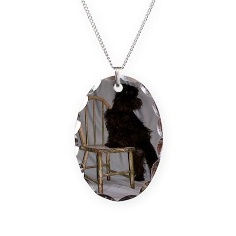 Black Miniature Schnauzer Puppy Necklace Oval Char