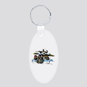 Drummer Aluminum Oval Keychain
