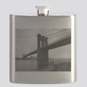 Brooklyn Bridge Black and White Photograph Flask