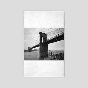 Brooklyn Bridge Black and White Photograp Area Rug