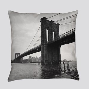 Brooklyn Bridge Black and White Ph Everyday Pillow