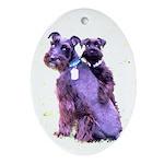 Black Schnauzer Puppy Love Ornament (Oval)