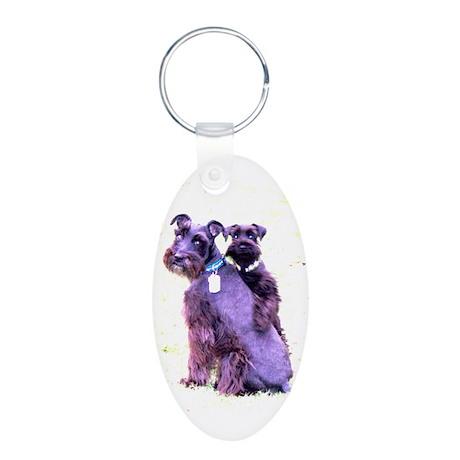 Black Schnauzer Puppy Love Aluminum Oval Keychain