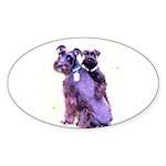 Black Schnauzer Puppy Love Sticker (Oval 10 pk)