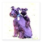 Black Schnauzer Puppy Love Square Car Magnet 3