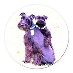 Black Schnauzer Puppy Love Round Car Magnet