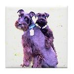 Black Schnauzer Puppy Love Tile Coaster