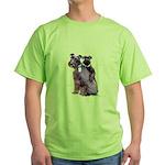 Black Schnauzer Puppy Love Green T-Shirt