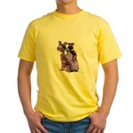 Black Schnauzer Puppy Love Yellow T-Shirt