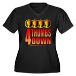 4 Thumbs Down Women's Plus Size V-Neck Dark T-Shir