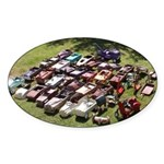 Vintage Pedal Cars Sticker (Oval)
