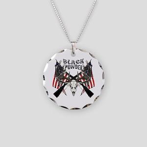 Black powder buck Necklace Circle Charm