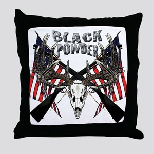 Black powder buck Throw Pillow