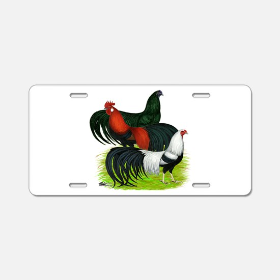 Long Tailed Roosters Aluminum License Plate