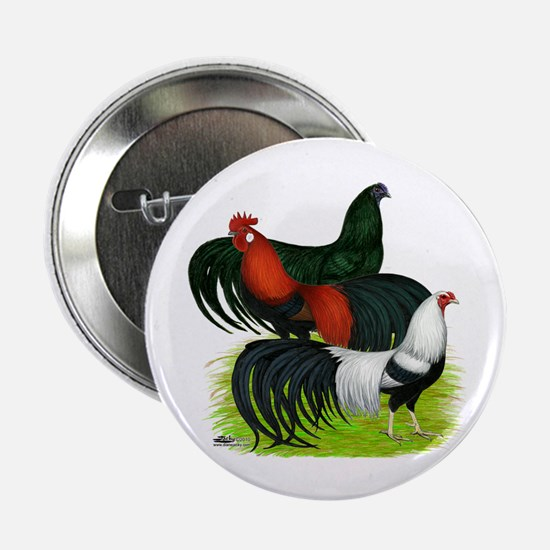 "Long Tailed Roosters 2.25"" Button"