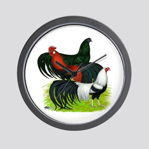 Long Tailed Roosters Wall Clock