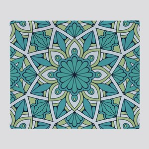 Flower mandala cyan blue Dark Throw Blanket