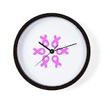 Pink Ribbons Breast Cancer Pugilist Wall Clock