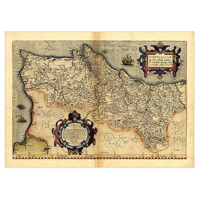 Ortelius's map of Portugal, 1570 Poster