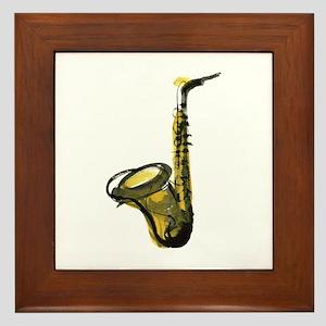 saxophone Framed Tile