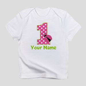 Pink Green Ladybug 1st Birthday Infant T-Shirt